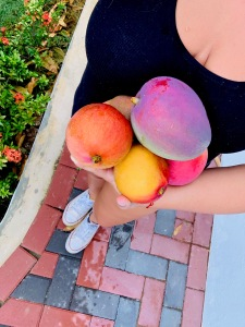 girl holding mangos