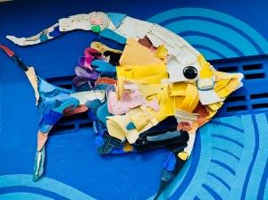plastic pollution fish art