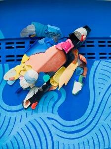 pastic pollution turtle art