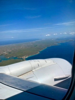 view of Curacao from airplace