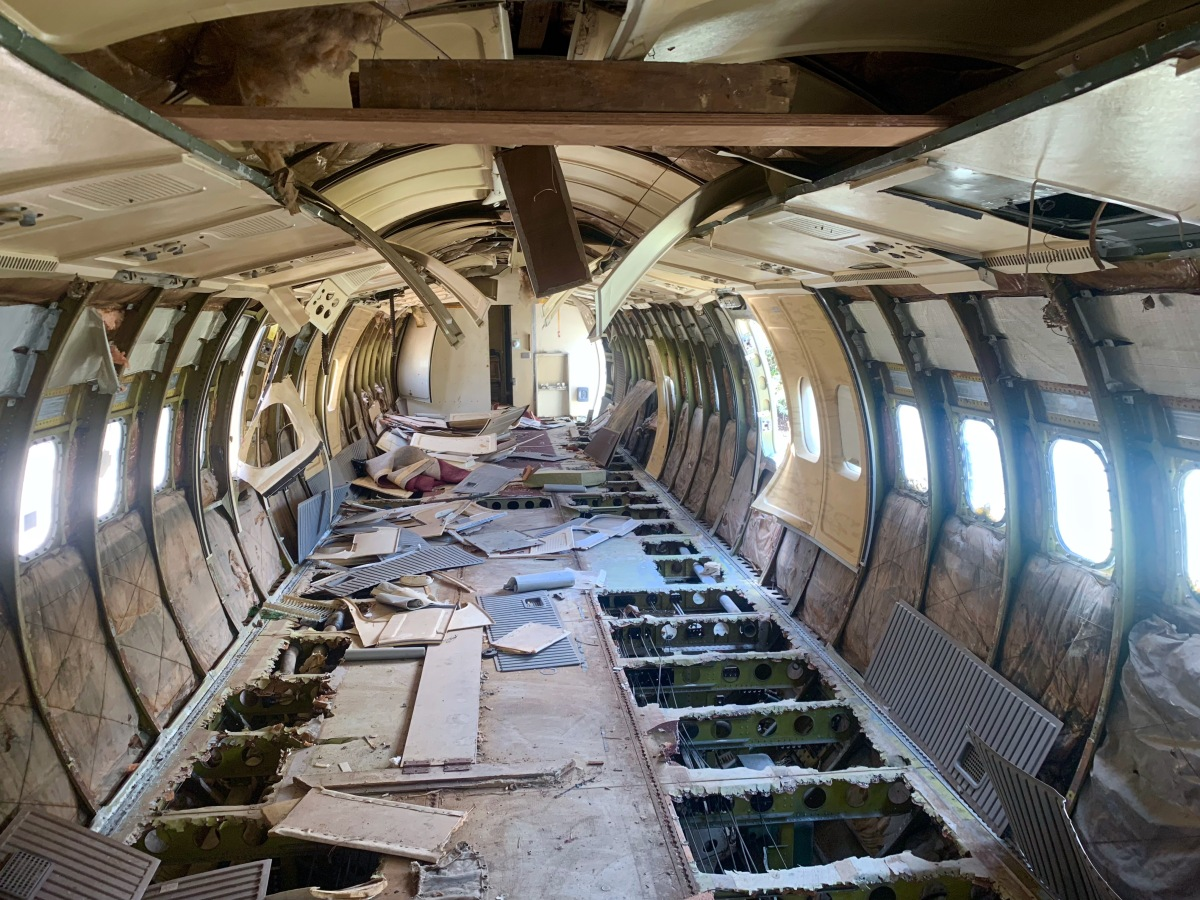 inside of abandoned airplane