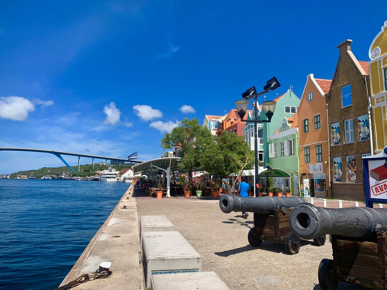Golden bridge and canons in Punda Curacao